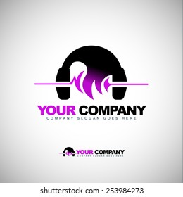 Creative Music Headphones Logo. Creative vector concept with music headphone and sound waves