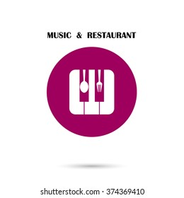 Creative Music and Restaurant icon abstract logo design vector template. Corporate business creative logotype symbol.Vector illustration