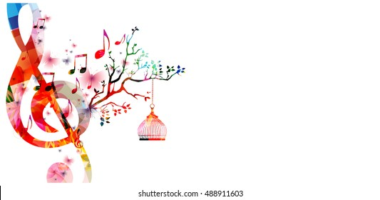Creative music style template vector illustration, colorful G-clef with music notes background. Nature inspired design for poster, card, flyer, brochure, banner, concert, music festival, music shop