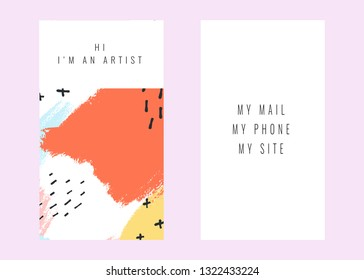 Creative namecard with handmade abstract textural background. Vector design in pastel colors