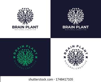 Creative Natural Brain Plant Tree Ecology Logo Design Inspiration