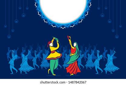creative Navratri Graba mahotsav poster design, Indian couple playing Garba