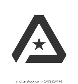 Creative negative space initial P and star logo design vector