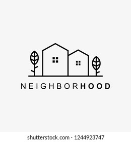 creative neighborhood logo minimal detailing with clean background. Vector logo template for property and business corporate.