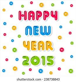 creative new year 2015 heart shape banner hang design vector
