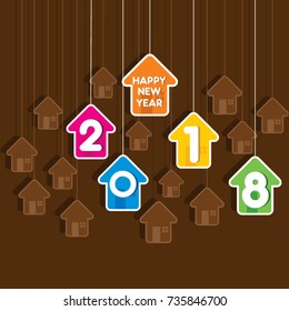 creative new year 2018 greeting design using hanging house pattern