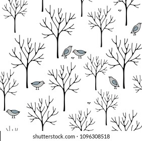 Creative nordic style illustration with winter forest. Seamless wallpaper of snow and birds.