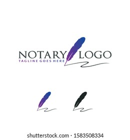 Creative Notary Logo With Feather Vector