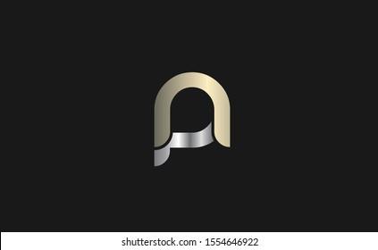 Creative np or pn letter logo design template