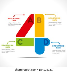 creative number '4' info-graphics design concept vector