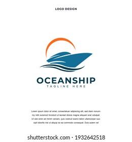 Creative ocean Cruise ship icon logo design vector illustration. nautical sailing boat logo design color editable