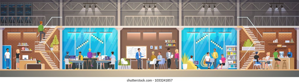 Creative Office Co-working Center in loft style. Smiling young people working on laptops in co-working area. Modern open space or shared workplace. Colorful vector illustration