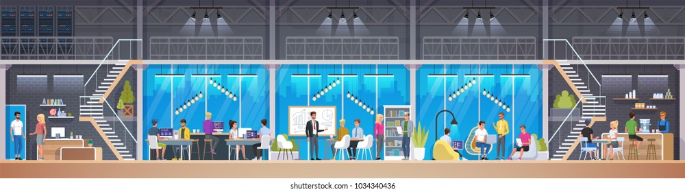 Creative Office. Co-working center in loft style. Young people working on laptops in co-working area. Workers sitting at computers in modern open space or shared workspace. Vector illustration