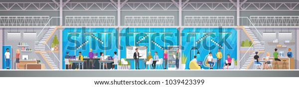 Creative Office Co-working Center in loft style. Smiling young people working on laptops in co-working area. Male and female freelance workers in modern open space or workplace. Vector illustration