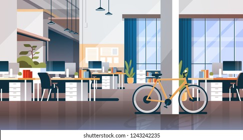creative office coworking center room interior modern workplace desk horizontal flat