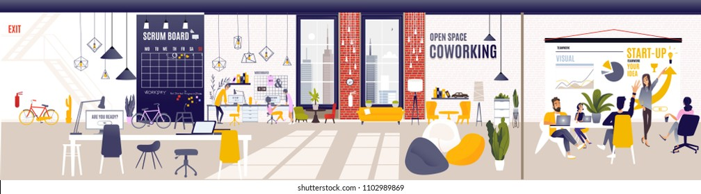 Creative Office Co-working Center. Shared working environment. People talking and working at the computers in the open space office. Modern Workplace. Flat Vector Illustration Co-working Center.