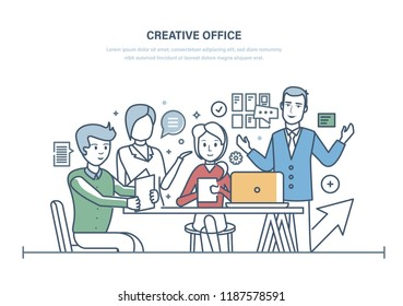 Creative office. Workers meeting, office business team, partnership. Teamwork collaboration, work together team creative ideas, start-up, brainstorming. Illustration thin line doodles design.