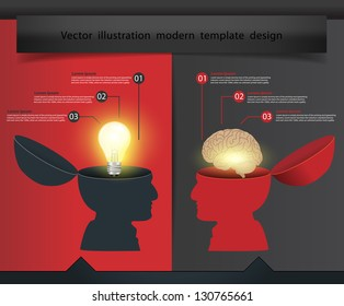 Creative open hand light bulb With brain concept, Vector illustration modern template design