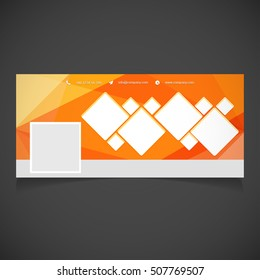 Creative Orange background Photography banner template. place for image. Photography Facebook Cover. Vector illustration