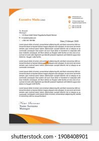 creative orange and black ink letterhead design