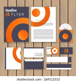 Creative orange infinity corporate identity. Trendy business concept with logo design template. Vector illustration.