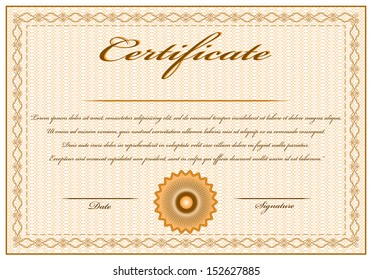 Creative orange vintage certificate with text. Editable isolated vector design. Objects are grouped separately, easy to edit.
