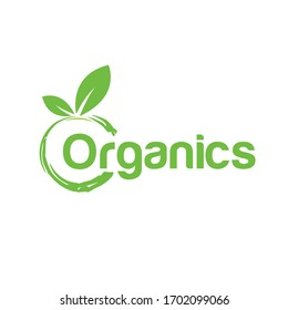 Creative organic, fresh, healthy and natural food logo design template. Green life, organic products.