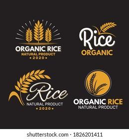 creative organic rice logo design template