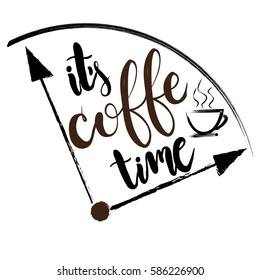 creative original design for girls, t shir, wallpaper fashion clothes. original calligraphic text about cofee  time. Girlish print