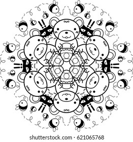 Creative ornament of bears and bees.Can be used as a coloring book for children and adults to enjoy their hobby. Also can be used as a tattoo design.
