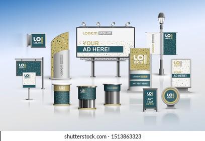 Kreatives Outdoor-Werbedesign für Corporate Identity mit Mustern aus Punkten. Briefmarkensatz