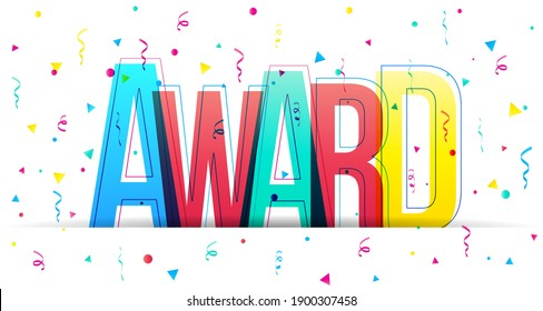 Creative overlapped letters of the 'Award' word. Colorful letters with confetti falling from above. Horizontal banner or header for the website. Vector illustration.