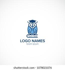 Creative owl academy school design vector