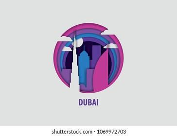 Creative paper cut layer craft Dubai vector illustration. Origami style city skyline travel art in depth illusion