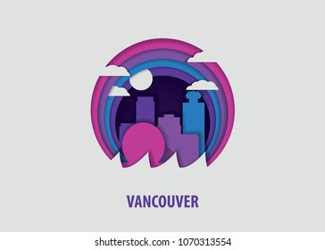 Creative paper cut layer craft Vancouver vector illustration. Origami style city skyline travel art in depth illusion