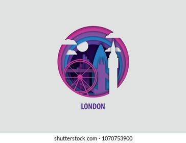 Creative paper cut layer craft London vector illustration. Origami style city skyline travel art in depth illusion
