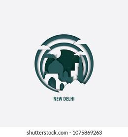 Creative paper cut layer craft New Delhi vector illustration. Origami style city skyline travel art in depth illusion