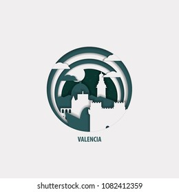 Creative paper cut layer craft Valencia vector illustration. Origami style city skyline travel art in depth illusion