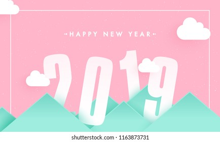Creative paper cut style 2019 text pink cloudy mountain background for New Year celebration poster banner design.