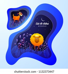 Creative paper cut style greeting card design with illustration of leaves, goat and sheep animal for Eid Al Adha Mubarak Festival.