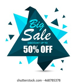 Creative Paper Tag, Label or Banner design of Big Sale with Discount upto 50% Off, Vector illustration.