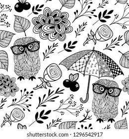 Creative pattern for coloring book with owls and plants. Vector seamless background.