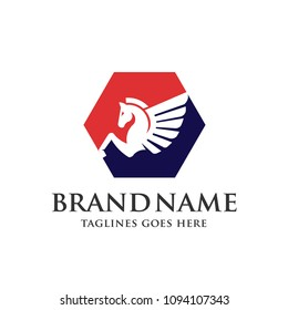 creative Pegasus  with hexagon color logo concept