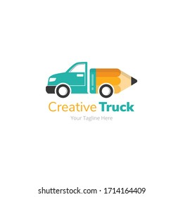Creative Pencil Delivery Truck Logo Design