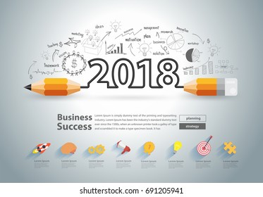 Creative pencil design on drawing charts graphs business success strategy plan ideas concept, New year 2018 calendar cover, typographic inspiration, Vector illustration modern layout template design