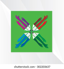 creative pencil with hand vector illustration