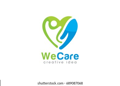 Creative People Care Concept Logo Design Template