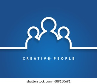 Creative People concept business idea, solution and innovation with blue background