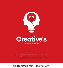 Creative People logo with light bulb concept vector, human head bulb lamp logo vector idea