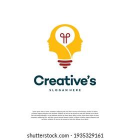 Creative People logo with light bulb concept vector, human head bulb lamp logo vector idea
